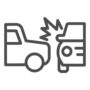 Two automobile road crash line icon. Frontal or side driving collision symbol, outline style pictogram on white background. Car accident sign for mobile concept, web design. Vector graphics.